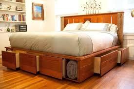Solid Wood Platform Bed Bookcase Cherry 6 Drawer King Size Platform Storage Bed