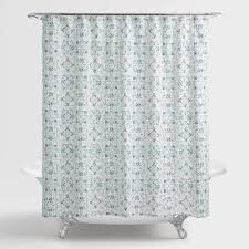 Hawaiian Print Shower Curtains by Blue And Aqua Carissa Shower Curtain World Market