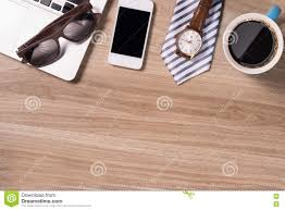 Wooden Table Top View Phone And Book Blank On Wood Table Top View Stock Photo Image