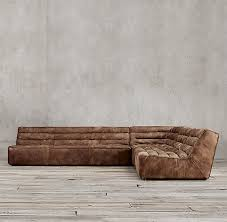 Chelsea Sectional Sofa Leather Square Corner Sectional