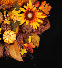 autumn or thanksgiving bouquet black background pumpkin stock