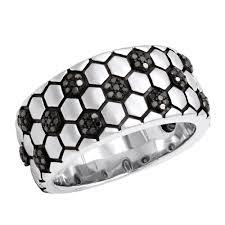silver ball rings images Soccer ball ring black diamond band for men in sterling silver 0 33 jpg