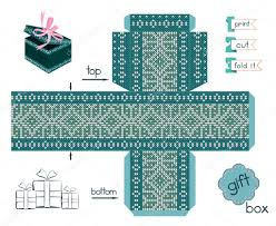 printable gift box with scandinavian style knitted pattern u2014 stock