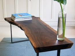 Build Wood Slab Coffee Table by Walnut Slab Table To The Studs