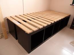 Easy Diy Platform Storage Bed by 13 Beds Made Much Cooler With Ikea Hacks Ikea Kitchen Cabinets
