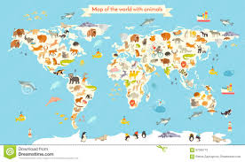 Free Vector World Map by Animals World Map Colorful Cartoon Vector Illustration For