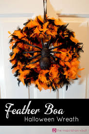 Halloween Wreath Feather Boa Halloween Wreath The Inspiration Vault