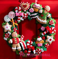 cookies candy wreath bucilla felt christmas home decor kit cookies candy wreath bucilla felt christmas home decor kit 86264