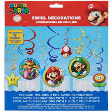 Super Mario Decorations Super Mario Hanging Party Decorations Party Supplies Walmart Com