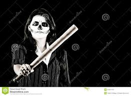 bat woman halloween costume woman in halloween costume with a baseball bat stock photos