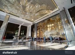 Luxury Lobby Design - luxury lobby interiorwith crystal lampbing hall stock photo
