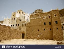 adobe house view of a traditional adobe house hadramaut yemen stock photo