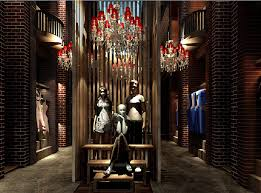 store decoration clothing store interior decoration brick walls and chandeliers