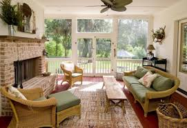 decoration fascinating brick fireplace also green brown sunroom