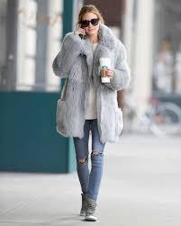 coat olivia palermo fur fur coat jeans fall winter