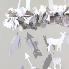 Deer Mobile For Crib Gray U0026 White Deer Arrow U0026 Feather Mobile Carousel Designs
