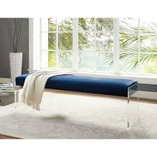 Blue Bedroom Bench Modern Benches Elphin Blue Velvet Bench Eurway