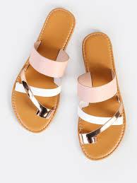 multi toe ring sandals blush multi shein sheinside