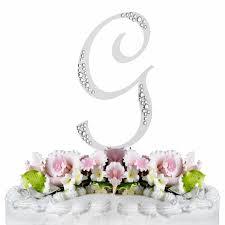 g cake topper swarovski wedding cake topper silver letter g