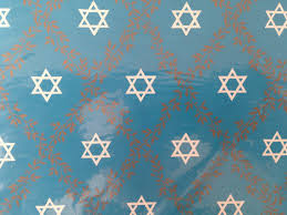 vintage hanukkah gift wrapping paper white gold and blue
