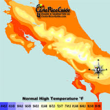 Map Costa Rica Average Temperatures In Costa Rica