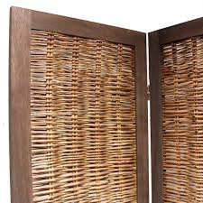 wooden framed wicker room divider privacy screen partition shabby