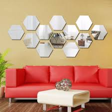 compare prices on acrylic wall decoration online shopping buy low three dimensional hexagonal 12 pcs wall decoration acrylic mirrored decorative sticker room decoration diy wall