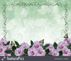Lavender Roses Illustration Of Lavender Roses Border Wedding Invitation
