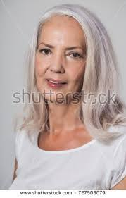 looking with grey hair attractive youthful fifty year old woman stock photo 727503079