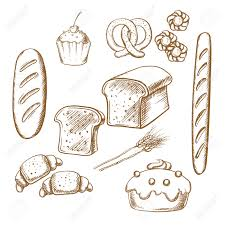 bakery sketch icons set isolated on background for cafe