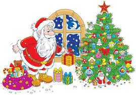 santa claus putting his gifts a tree royalty