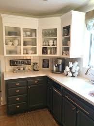 Antique Cabinets For Kitchen Simply White Upper Cabinets Urbane Bronze Lowers With Antique