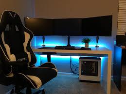 Gaming Setup Desk Ultimate Cool Gaming Puter Desk Setup With Black Ikea Desk Linnmon