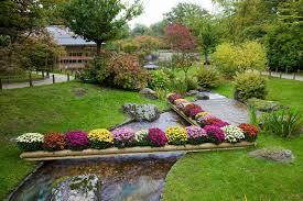 flowers on creek in japanese garden stock image image 37990885
