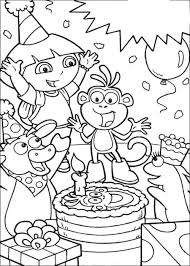 dora happy birthday card coloring coloring pages