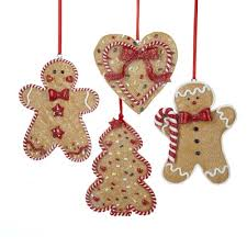 christmas ornament sets gingerbread men tree and heart ornament set of 4