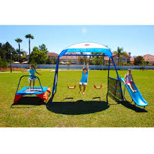 iron premier 100 metal swing set with trampoline and protective
