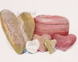 heart shaped items items similar to heart shaped rocks watercolor heart print