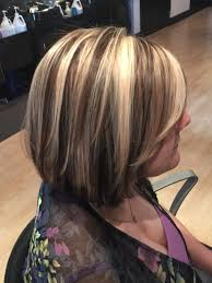 long bob hairstyles with low lights rich chocolate lowlights chunky blonde highlights bob by denise