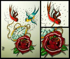 rose and swallows with pocket watch old tattoo design by