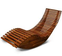 Recliner Rocker Chair Wooden Garden Sun Bed Patio Lounger Recliner Rocking Chair Outdoor