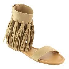 forever gb84 women u0027s tassels fringe back zipper flat gladiator