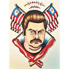i design tattoos and did this piece dedicated to ron swanson pandr