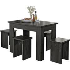 buy legia black space saving dining table and 4 stools at argos co