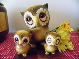 owl item set of three owl figurines josef originals california japan