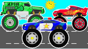 lightning mcqueen hulk car and police monster truck car racings