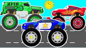 toddler monster truck videos lightning mcqueen hulk car and police monster truck car racings