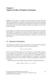 algebra of skew primitive elements springer