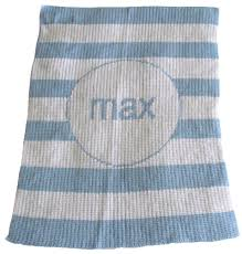 personalized knitted baby blanket with modern stripes