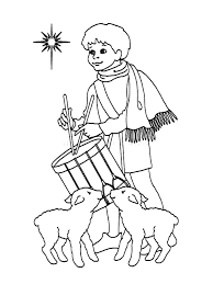 drummer boy and two sheep play drum colouring page colouring tube